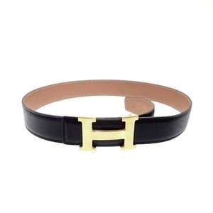 Authentic Hermes reversible Constance belt gold